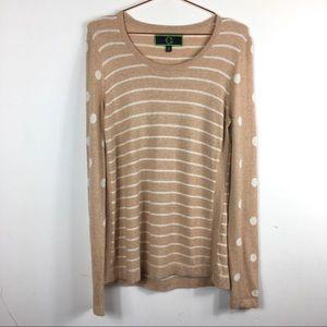 C. Wounder Sweater Striped Polka Dot Sz M xd6b